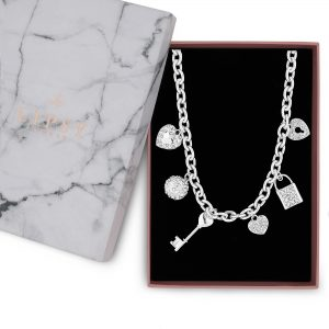 Lipsy Silver Multi Charm Gift Necklace