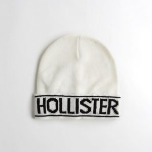 Hollister Logo Ladies White Beanie - Black Writing
