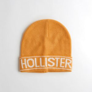 Hollister Logo Ladies Yellow Beanie - White Writing