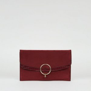 New Look Burgundy Suedette Ring Clutch Bag