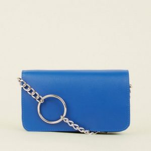 New Look Bright Blue Flap Front Chain Detail Cross Body