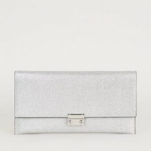 New Look Silver Glitter Chain Strap Clutch