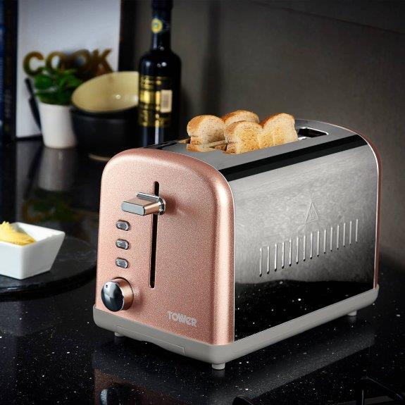 Tower Sparkle Blush 2 Slice Toaster - T20014BM