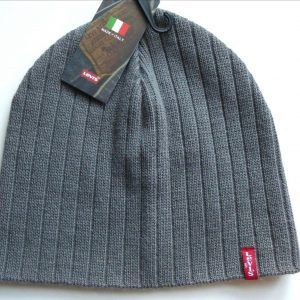 Levis Grey Ribbed Beanie