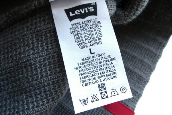 Levis Grey Ribbed Beanie