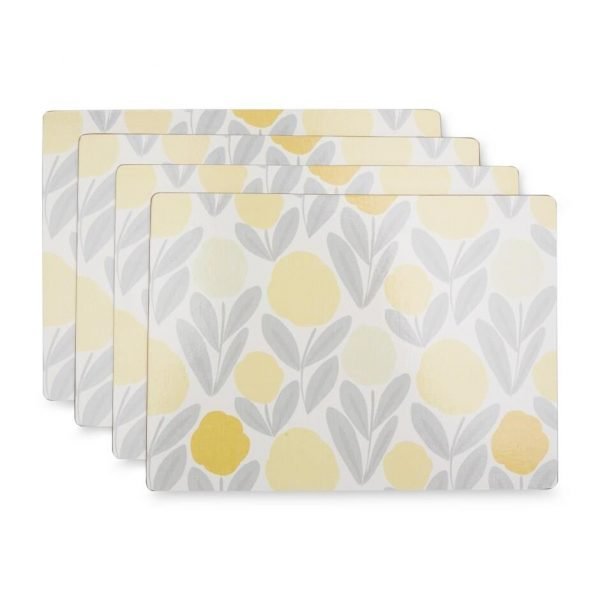 Laura Ashley Home Serena Steel Sunshine Placemats - Set Of 4