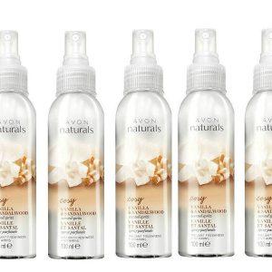 5 x Avon Naturals Vanilla & Sandalwood Scented Spritz Spray - 100ml