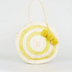 New Look Yellow Straw Round Pom Pom Bag