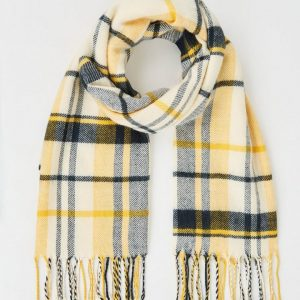New Look Yellow and Navy Check Scarf