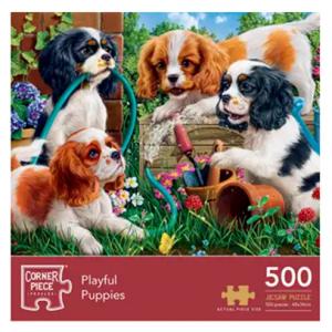 Corner Piece Puzzles - Playful Puppies 500 Piece Jigsaw