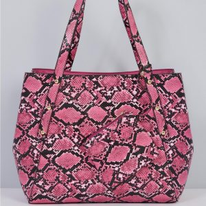 Pink Snake Shopper Tote Handbag with Matching Purse