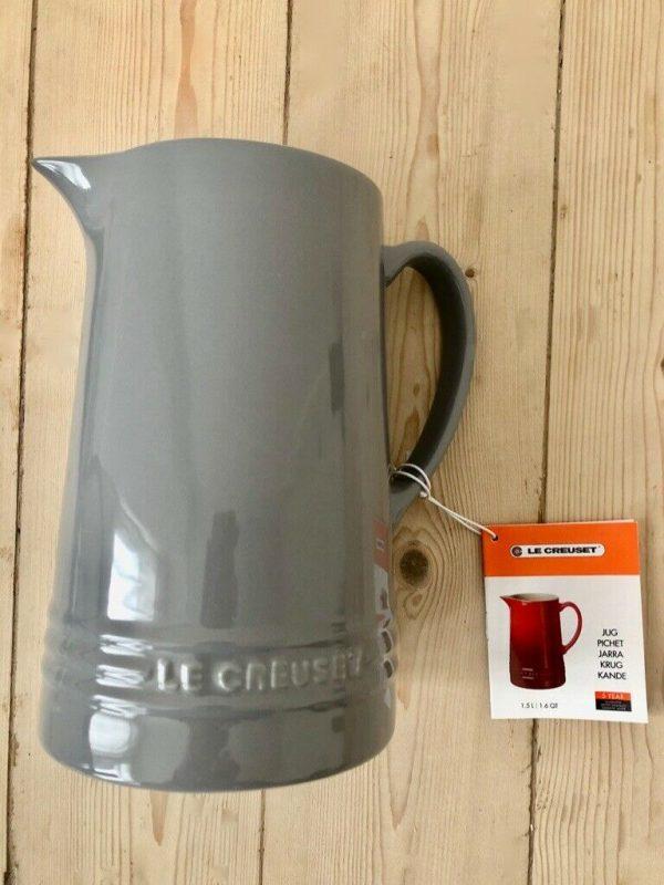 LE CREUSET Large Ceramic GREY Jug/Pitcher 1.5L