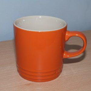 2 x Le Creuset Orange Large 350ml Stoneware Mugs