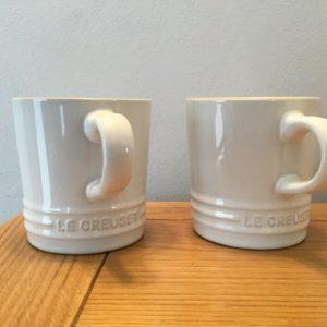 2 x Le Creuset White Stoneware Cappuccino Cup 200 ml
