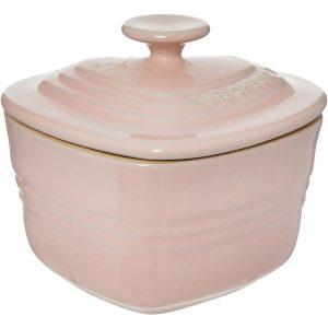 2 x Le Creuset Pink Heart Shaped Stoneware Ramekin With Lid 0.3L