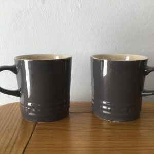 2 x Le Creuset Raw Grey Stoneware Cappuccino Mugs 200 ml
