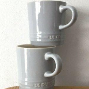 2 x Le Creuset Mist Grey Stoneware Cappuccino Mug 200ml
