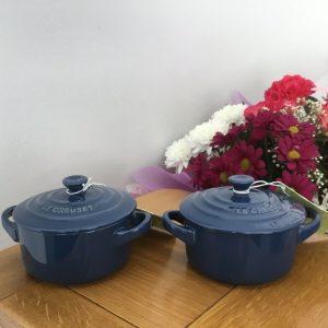 2 x Le Creuset Blue Mini Casserole Dishes