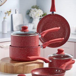5-Piece Red Non-Stick Marble-Effect Pan Set