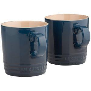 2 x Le Creuset Ink Blue Stoneware Cappuccino Mug 200 ml