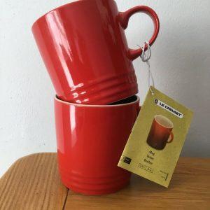 2 x Le Creuset Chilli Red Large 350ml Stoneware Mugs