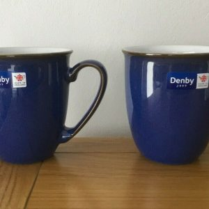 2 x DENBY Imperial Blue Stoneware Pottery Coffee/Tea Mug